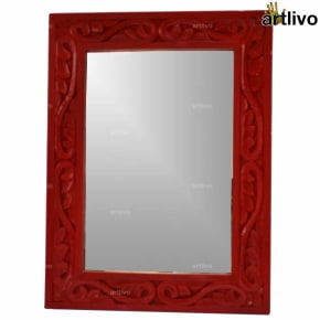"24"" Wooden Carved Red Mirror Frame"