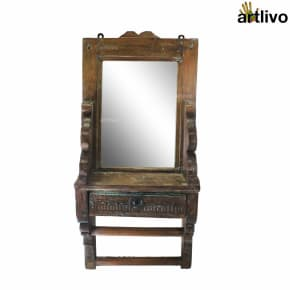 "25"" VINTAGE Wooden Carved Wall Mirror with drawer"
