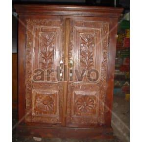 Vintage Indian Engraved illustrious Solid Wooden Teak Almirah