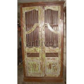 Vintage Indian Sculpted magnificent Solid Wooden Teak Almirah