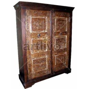 Vintage Indian Sculptured Rich Solid Wooden Teak Almirah