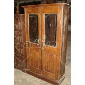 Vintage Indian Sculptured Royal Solid Wooden Teak Almirah