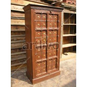 Vintage Indian Brown Rich Solid Wooden Teak Almirah