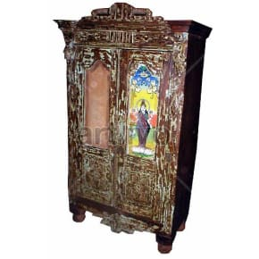 Old Indian Beautiful Ostentatious Solid Wooden Teak Almirah