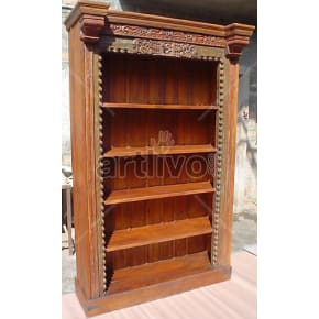 Vintage Indian Carved Rich Solid Wooden Teak Bookshelf