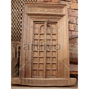 Vintage Indian Carved Royal Solid Wooden Teak Door