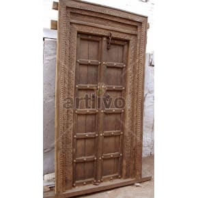 Vintage Indian Carved Supreme Solid Wooden Teak Door