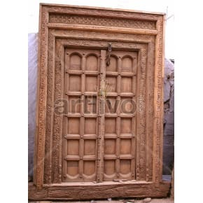 Vintage Indian Carved Superb Solid Wooden Teak Door