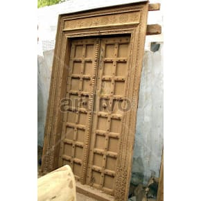 Vintage Indian Brown Unique Solid Wooden Teak Door