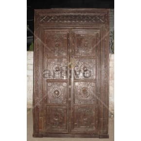 Vintage Indian Brown Imperial Solid Wooden Teak Door