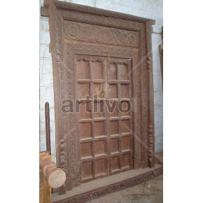 Vintage Indian Chiselled Plush Solid Wooden Teak Door