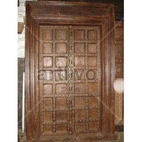 Vintage Indian Chiselled Splendid Solid Wooden Teak Door