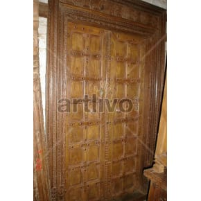 Vintage Indian Sculpted Rich Solid Wooden Teak Door