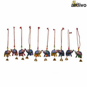 POPART Small Car Hanging/ Decorative Accessory Elephant with Bell - Set of 10