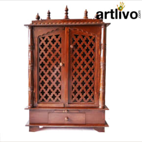 Artlivo Wooden Carved temple with Door|Drawer|Dome for home/office/Gift