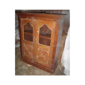 Vintage Indian Engraved aristocratic Solid Wooden Teak Almirah