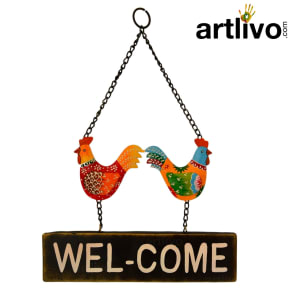 Rooster Wall Hanging Welcome Board