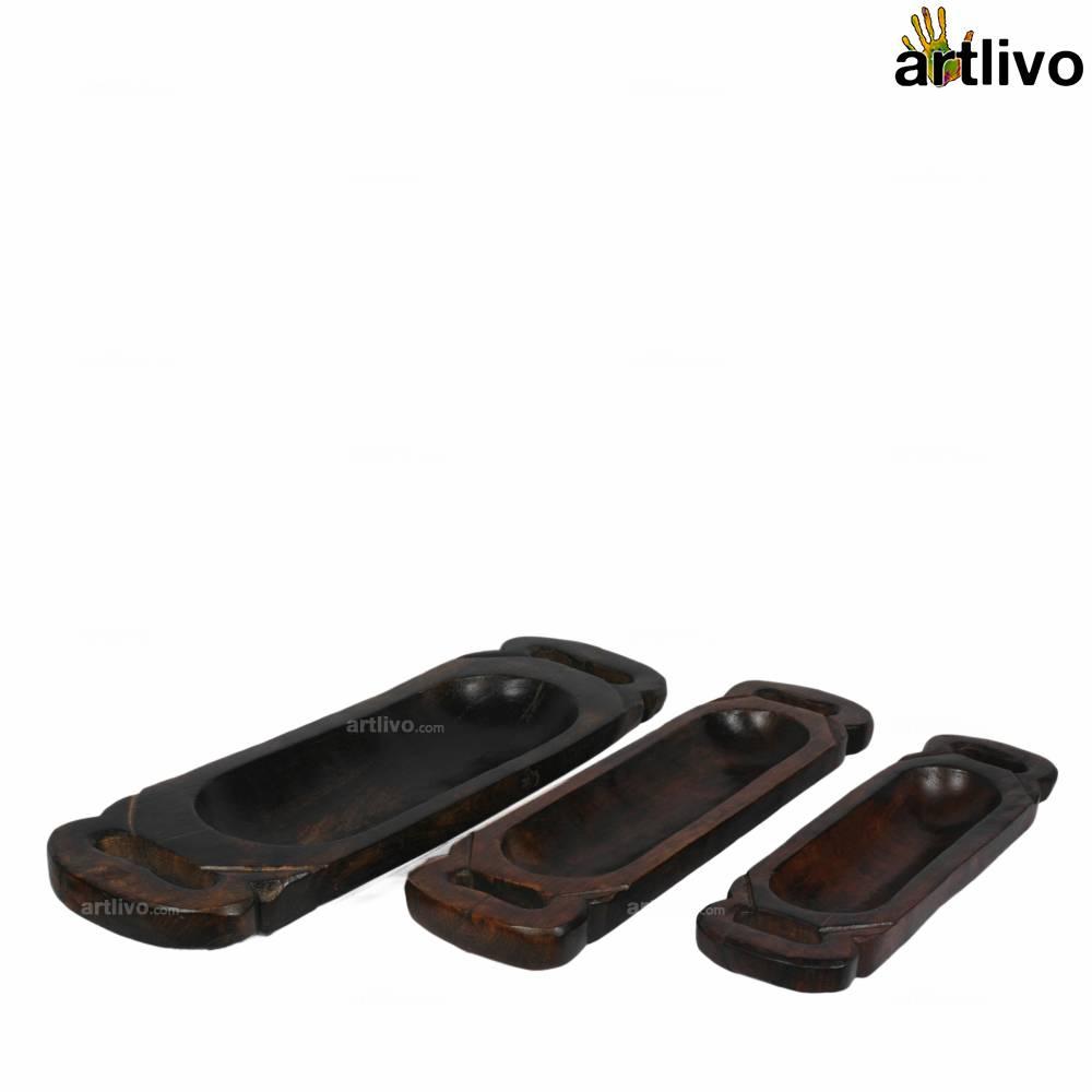 MERLOT Decorative Solid Wooden Trays, Set of 3