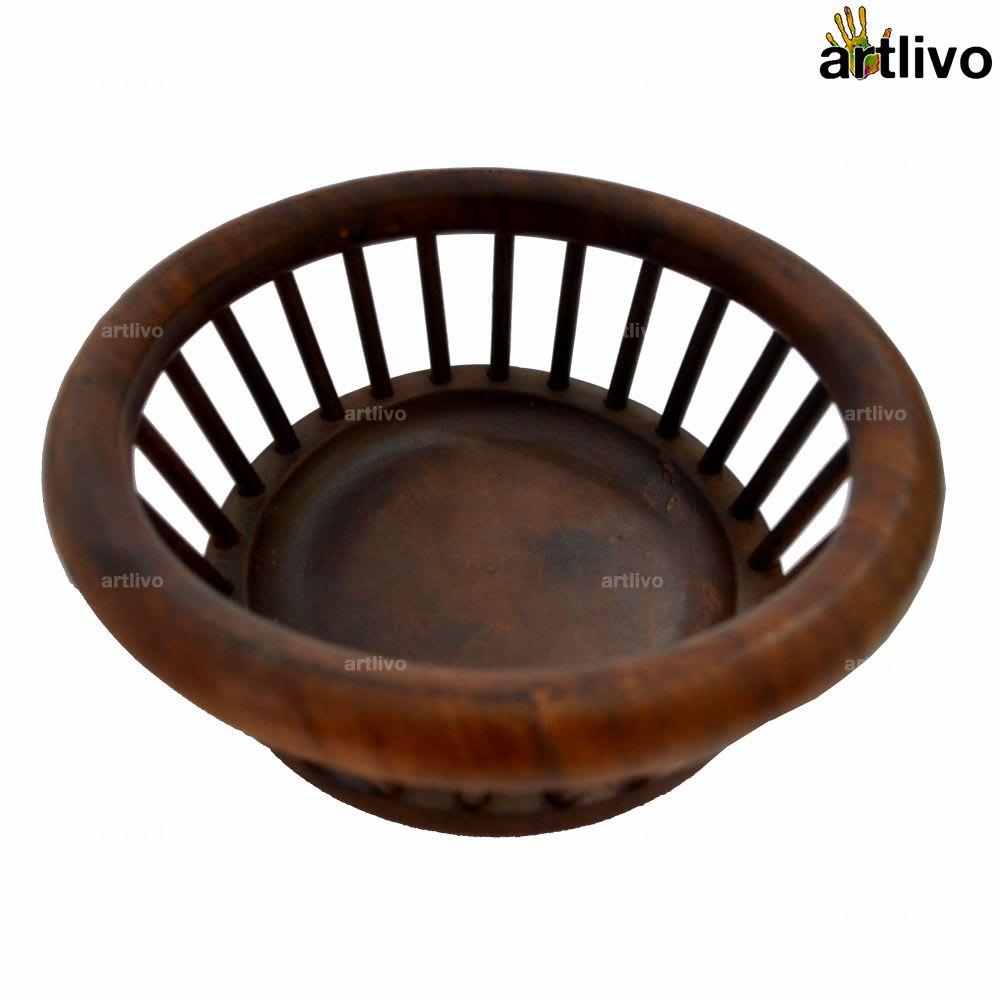Wooden Decorative Round Basket