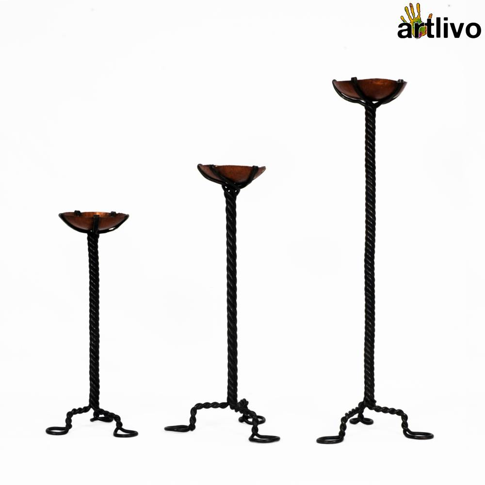 UBER ELEGANT Metal Twisted Candle Stands, Set of 3
