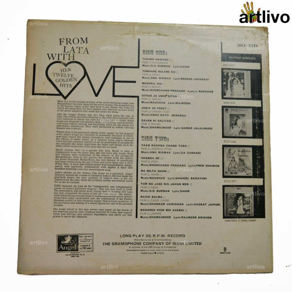 VINTAGE Gramophone Record - From Lata With Love (With Cover)