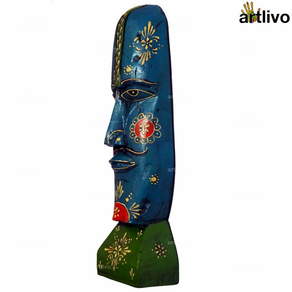 EMBOSSED Blue Wooden Human Face