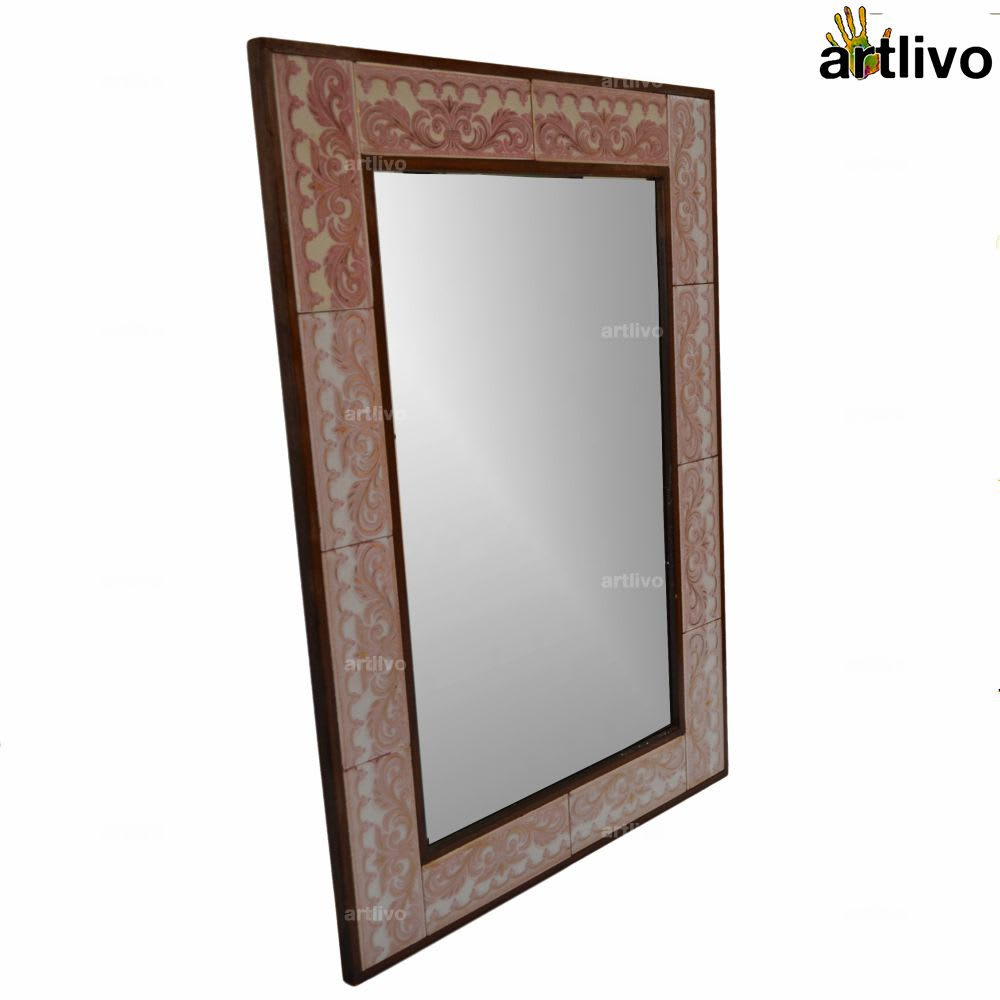 32 Inches Handcrafted Pink Bathroom Wall Hanging Tile Mirror Frame