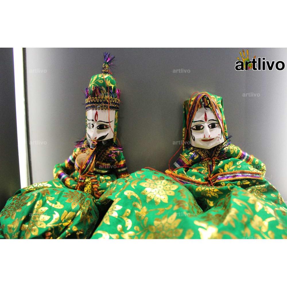 "POPART Green Brocade Kathputli Puppet Set 20"""