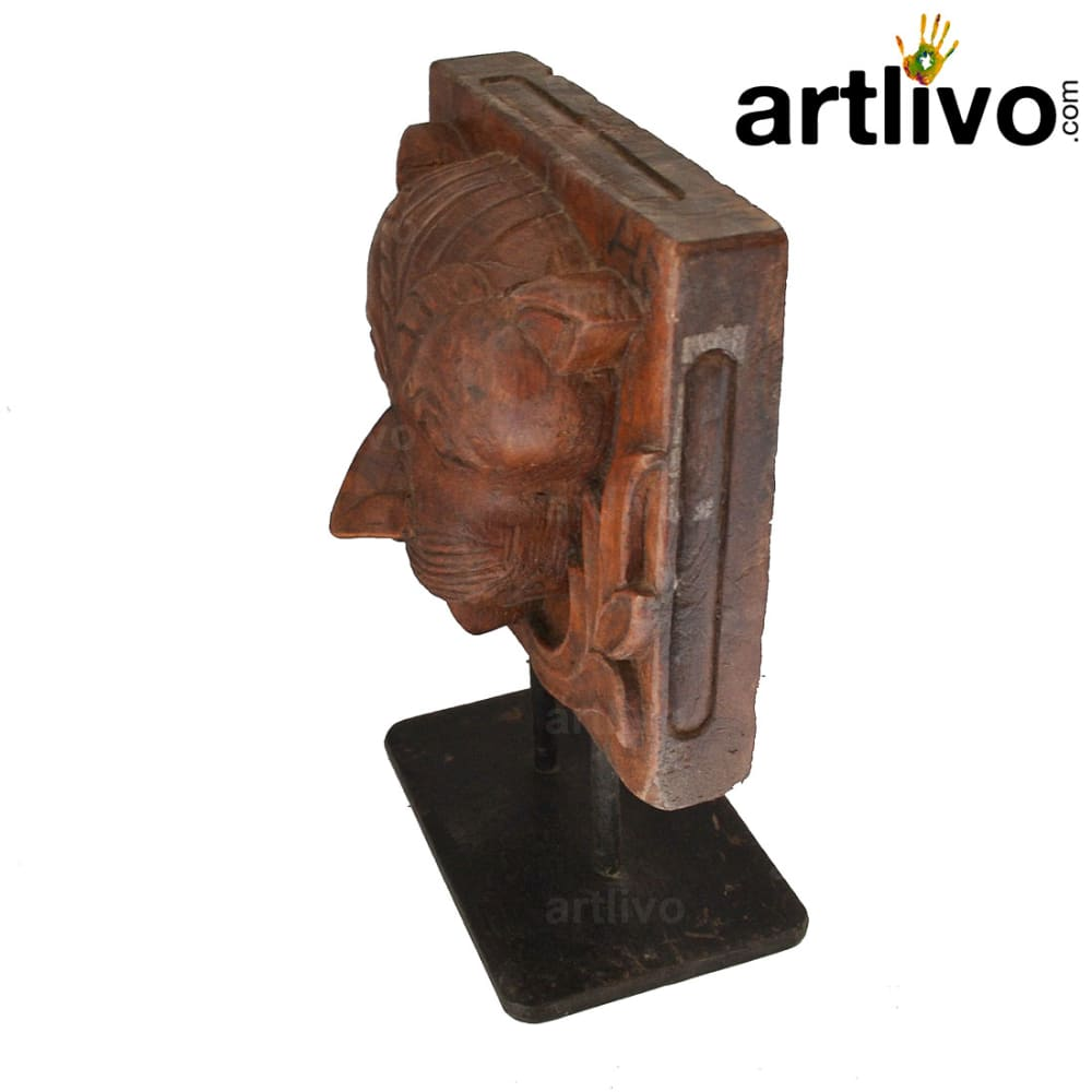 Tiger face statue with stand