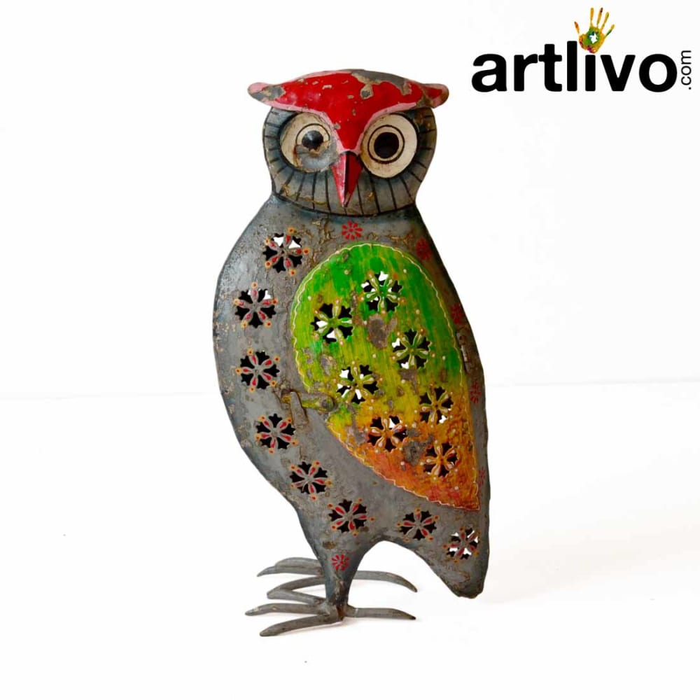 Iron owl candle stand