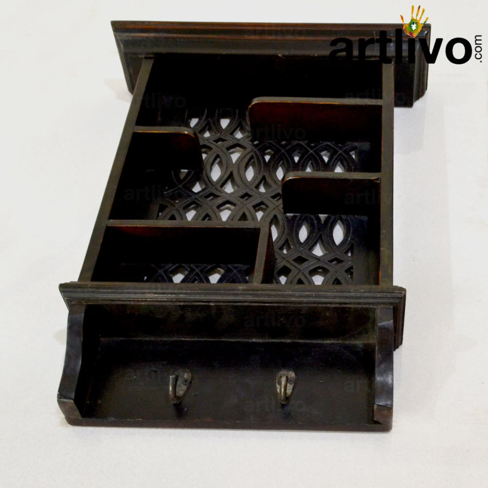 Wooden Rack With Hooks