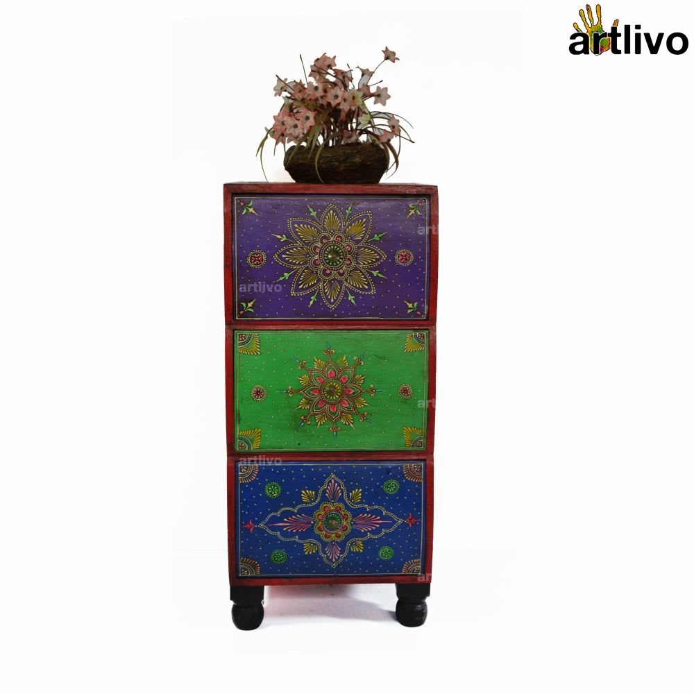 EMBOSSED 3 drawer Pillar Table - Multicolored