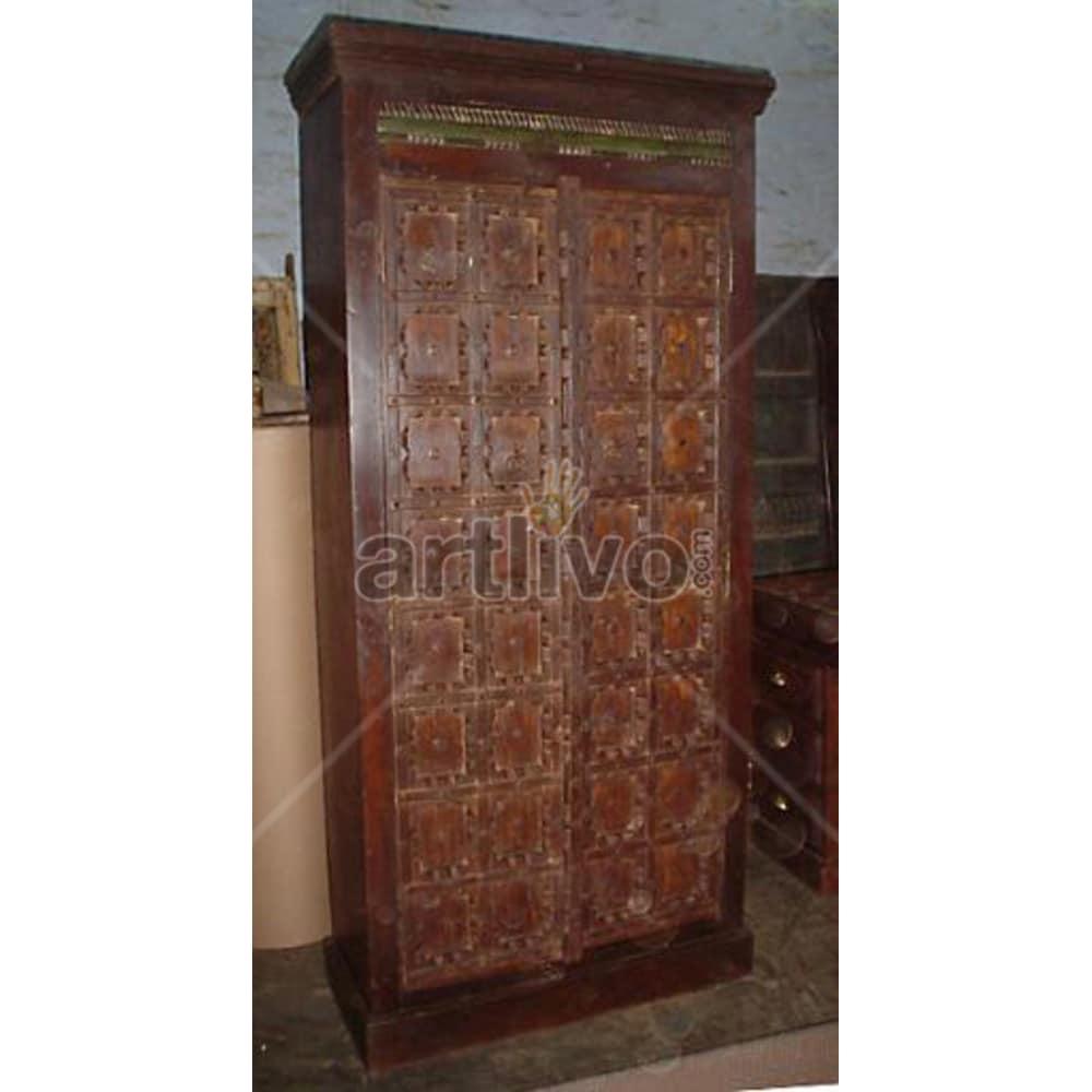 Vintage Indian Sculptured Superb Solid Wooden Teak Almirah