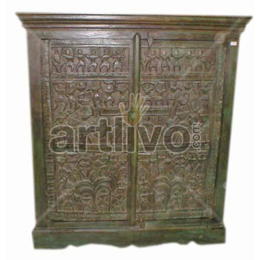 Antique Indian Carved Ostentatious Solid Wooden Teak Almirah