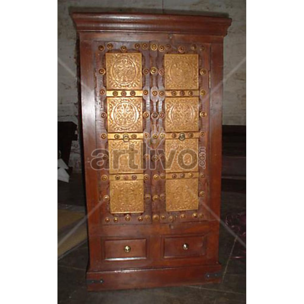 Antique Indian Chiselled Ostentatious Solid Wooden Teak Almirah