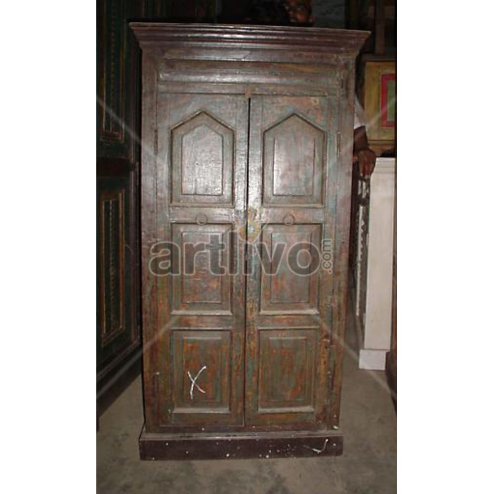 Antique Indian Sculpted stately Solid Wooden Teak Almirah
