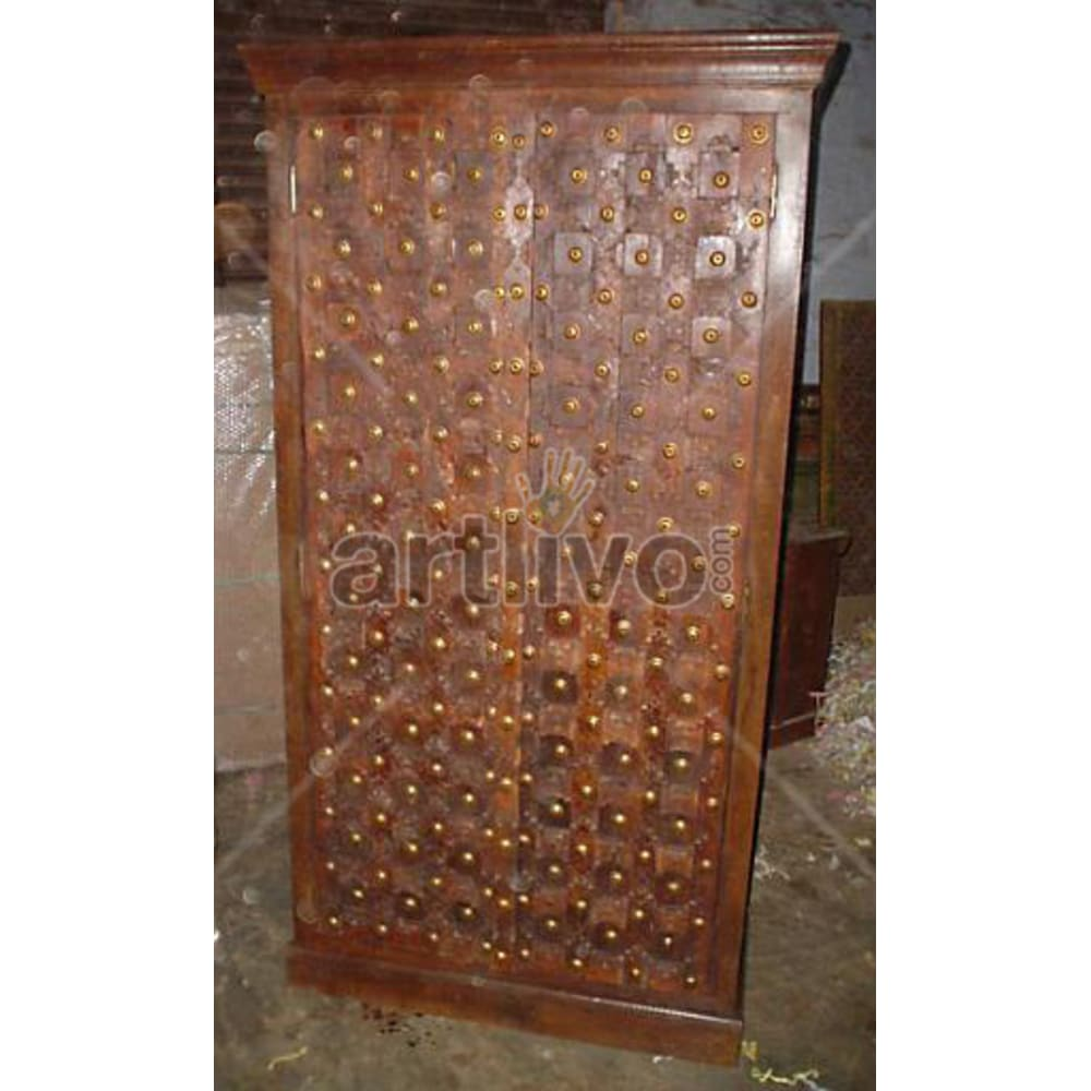 Antique Indian Brown stately Solid Wooden Teak Almirah