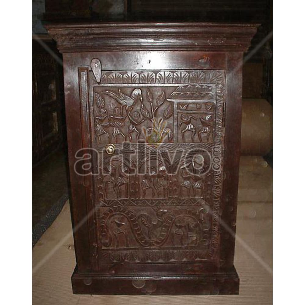 Old Indian Chiselled Royal Solid Wooden Teak Almirah