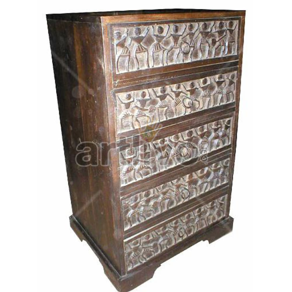 Old Indian Sculpted magnificent Solid Wooden Teak Almirah