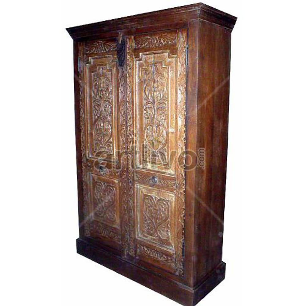 Old Indian Beautiful Palatial Solid Wooden Teak Almirah