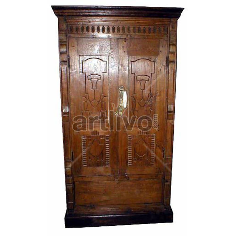 Old Indian Brown Rich Solid Wooden Teak Almirah