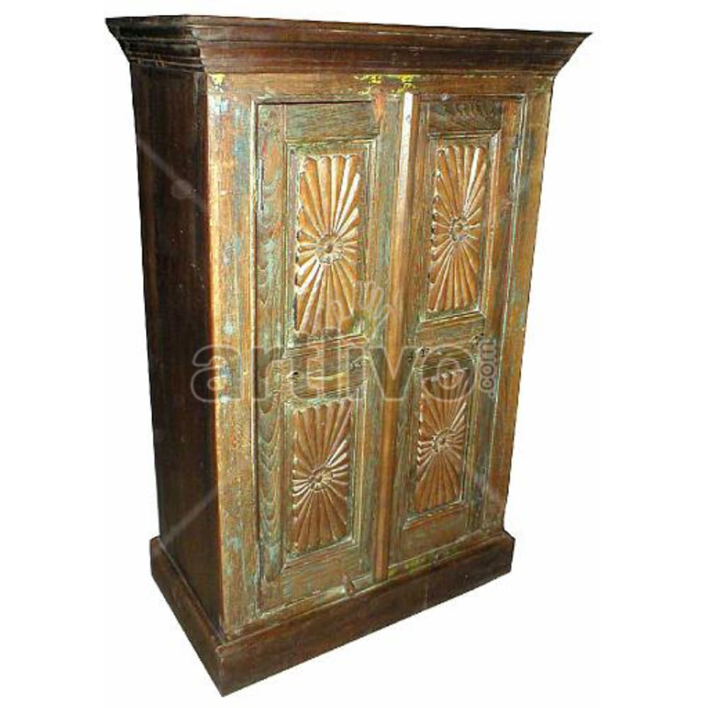 Old Indian Brown Deluxe Solid Wooden Teak Almirah