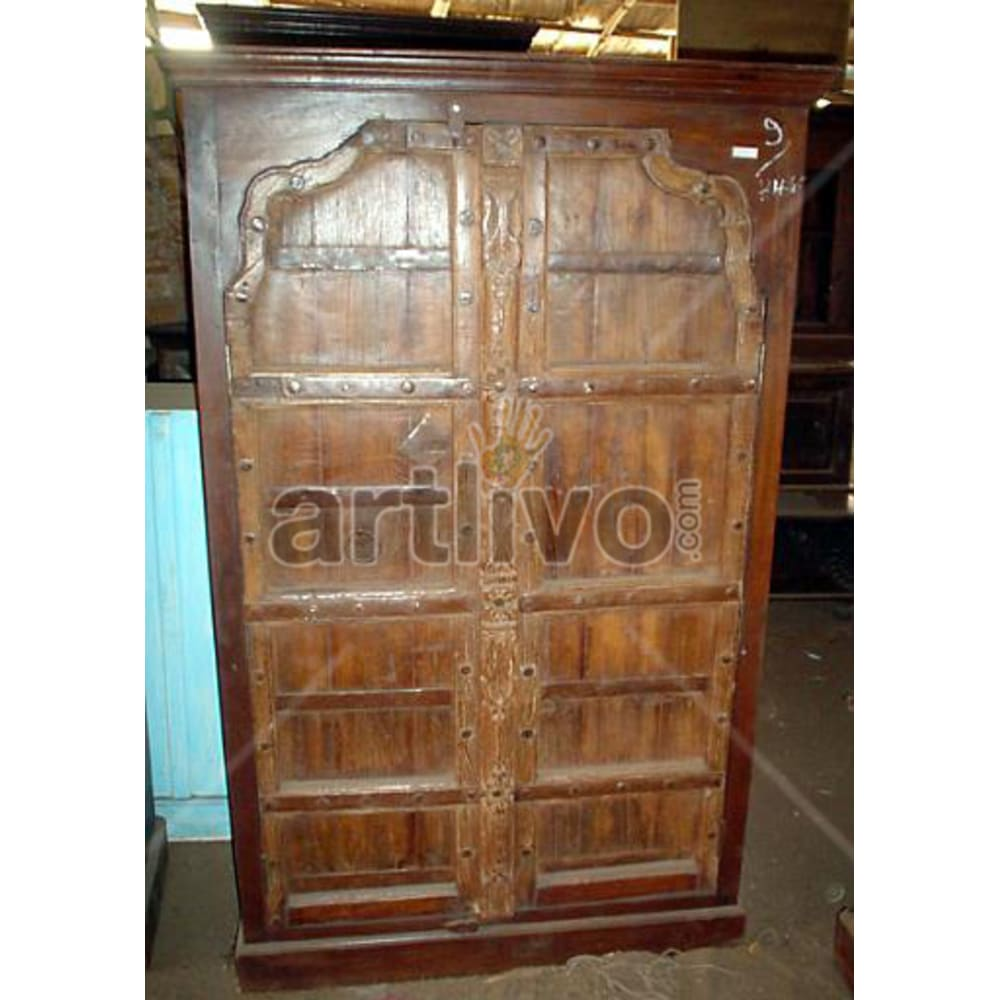 Restored Carved Palatial Solid Wooden Teak Almirah