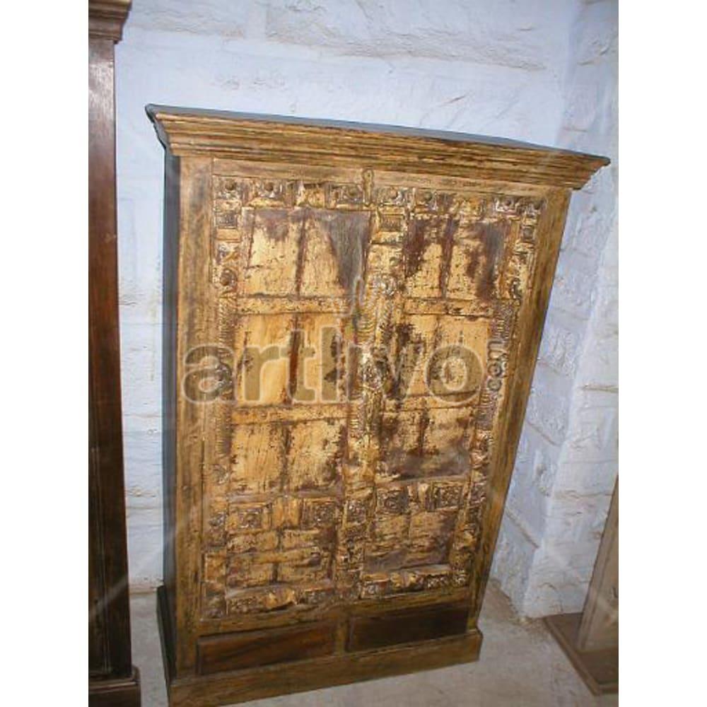 Restored Carved Royal Solid Wooden Teak Almirah