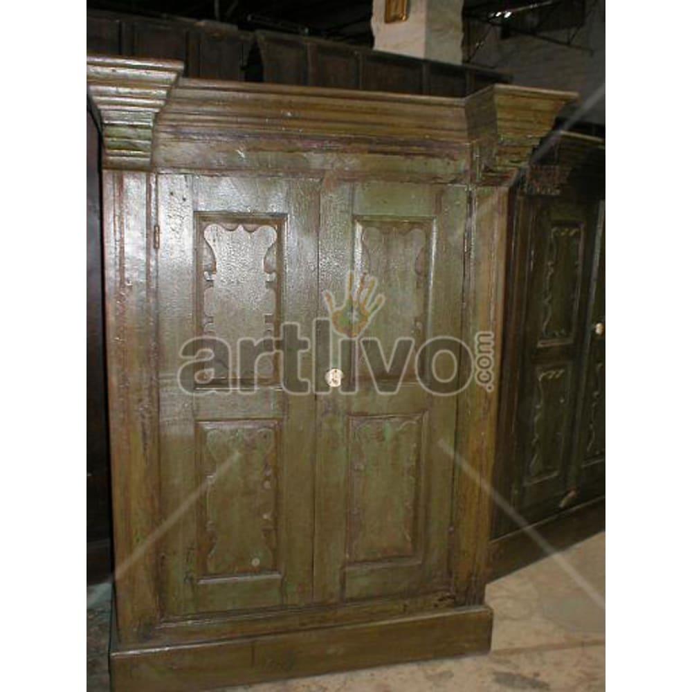 Restored Carved Supreme Solid Wooden Teak Almirah