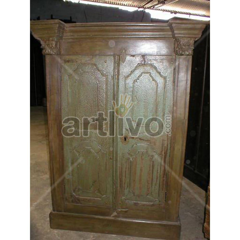 Restored Carved Superb Solid Wooden Teak Almirah