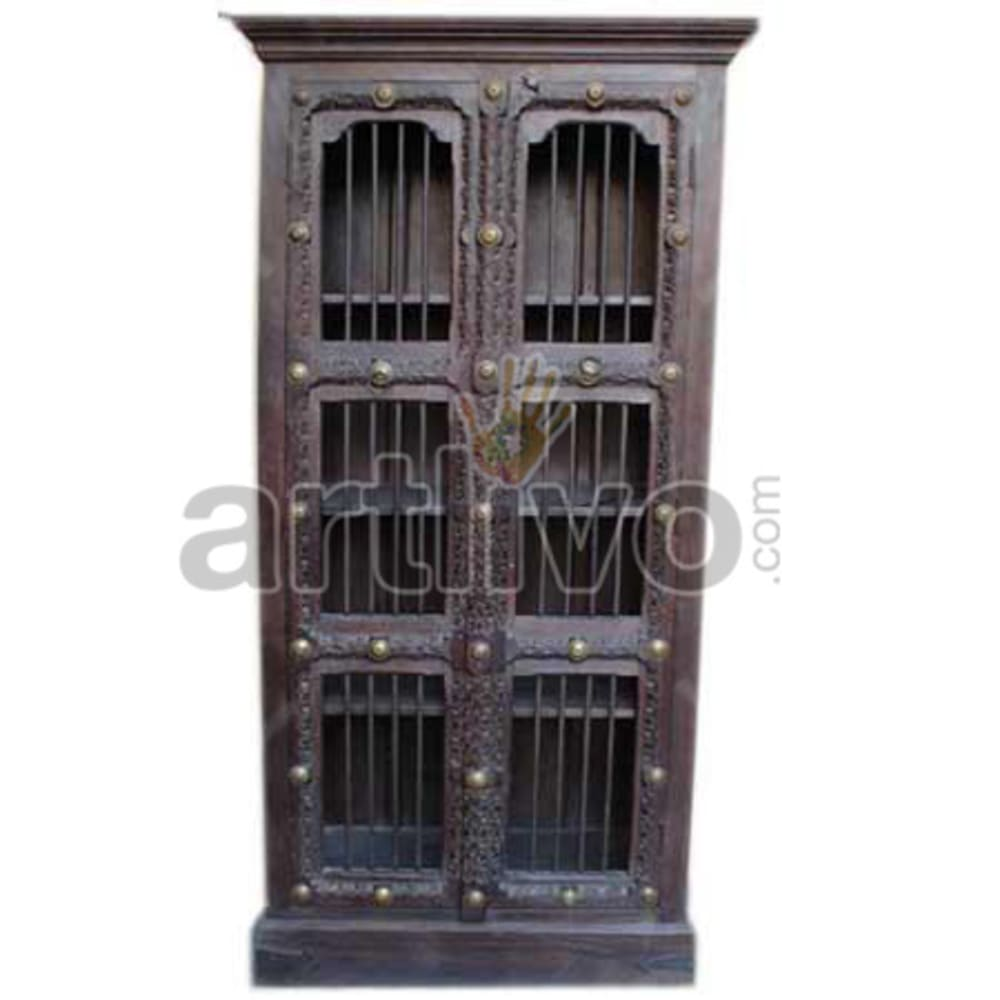 Restored Chiselled stately Solid Wooden Teak Almirah
