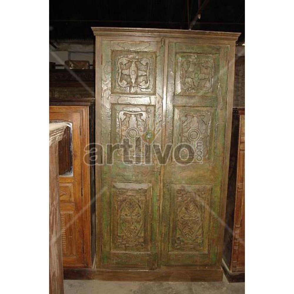 Restored Engraved imperial Solid Wooden Teak Almirah