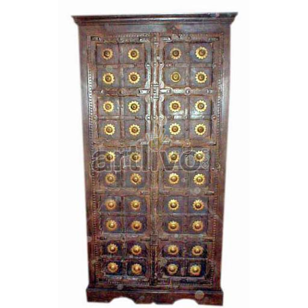 Restored Sculptured Extravagant Solid Wooden Teak Almirah