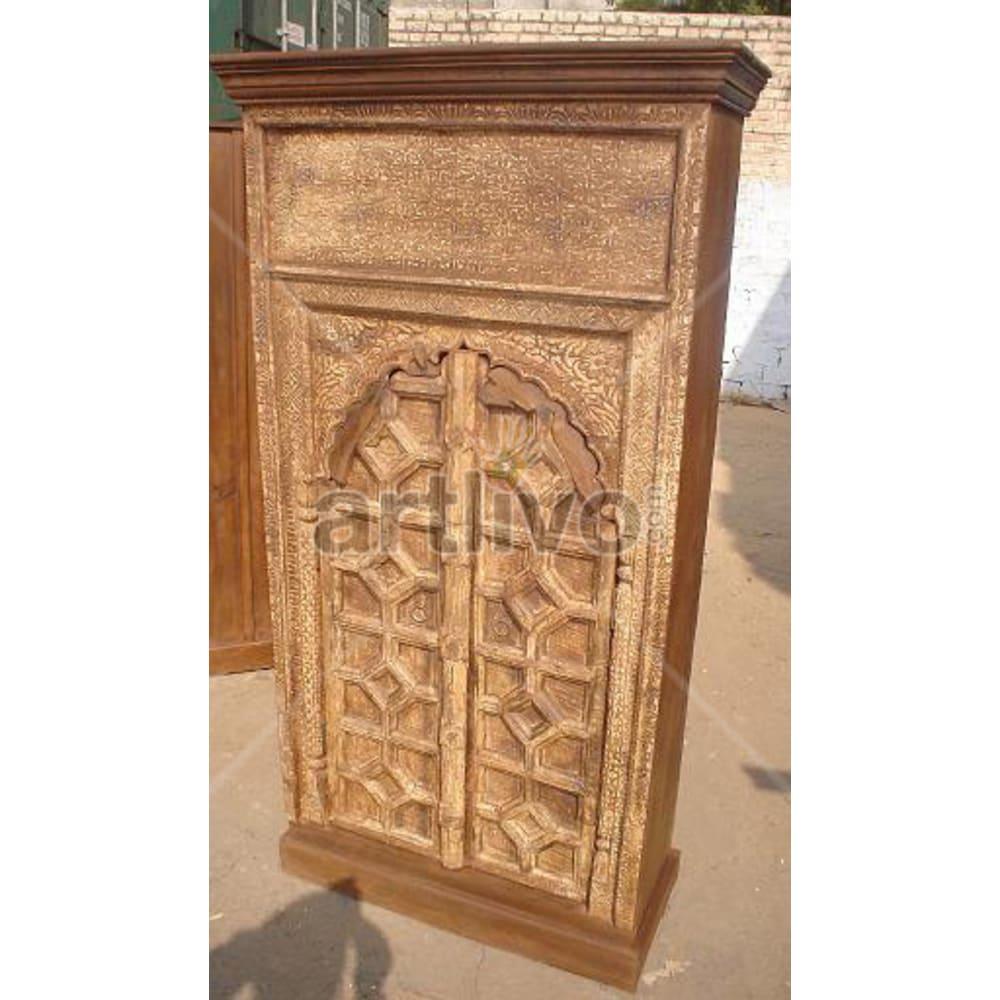 Restored Sculptured magnificent Solid Wooden Teak Almirah